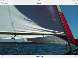 Beating with wind from starboard.