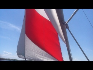Reaching sails with wind from starboard beam.
